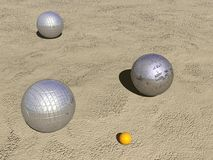 Petanque game balls - 3D render. Three metallic petanque game balls and small jack on the sand by sunny day Royalty Free Stock Images