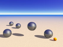 Petanque game balls on the sand Royalty Free Stock Image
