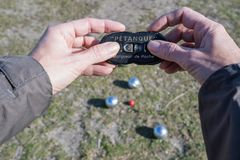 Petanque game stock photography