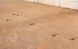 Petanque. A game of petanque in the summer royalty free stock photos