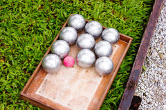 Petanque Metal Balls ready for Playing Royalty Free Stock Photography