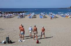 Petanque op het strand Stock Foto