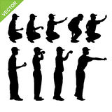 Petanque player silhouettes vector. Collection of petanque player silhouettes vector Stock Photography