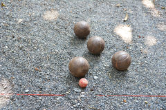 Petanque steel balls royalty free stock photography