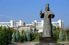 Petar I Petrovic Njegos statue, university. Montenegro. The statue of Petar I Petrovic Njegos,  Prince-Bishopric, popular spiritual and military leader is Royalty Free Stock Images