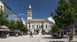 Petar Preradovic Square in Zagreb, Croatia. Zagreb, Croatia - 27 May, 2014: Panorama of Petar Preradovic Square, also known as Flower Square. Once considered Stock Photo