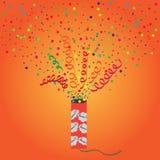 Petard. Bright vector illustration of exploding firecrackers Royalty Free Stock Photos