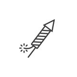 Petard, Fireworks Rocket line icon, outline vector sign, linear Royalty Free Stock Photography