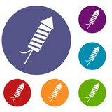 Petard icons set. In flat circle red, blue and green color for web Stock Image
