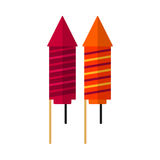 Petard rocket flat icon, vector sign. Colorful pictogram isolated on white. Fireworks symbol, logo illustration. Flat style design Royalty Free Stock Image