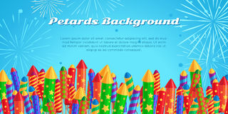 Petards Background. Salute Elements. Fireworks Set. Petards background with salute elements of fireworks festival. Set of different kinds of amazing fireworks Stock Image