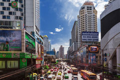 Petchaburi Road in thr Pratunam District of Bangkok Stock Photography