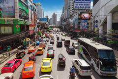 Petchaburi Road in thr Pratunam District of Bangkok Royalty Free Stock Photography