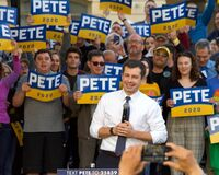 Pete Buttigieg, Mayor of South Bend Indiana, speaking at a Town Hall