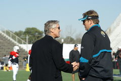 Pete Carroll and Jack Del Rio Stock Photos