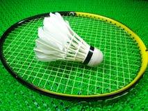 Peteca em uma raquete de badminton Imagens de Stock Royalty Free