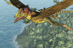 Peteinosaurus Soaring above the Sea Royalty Free Stock Photos