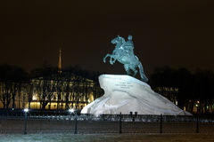 Peter 1, monument, Saint Petersburg, Russia. Peter 1, monument in Saint-Petersburg, Russia. Night Winter 2008 Royalty Free Stock Photography