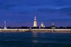 Peter And Paul Fortress At Night. Stock Photo