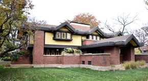Peter A. Beachy. This is a Fall picture of the Peter A. Beachy House located in Oak Park, Illinois.  The house was designed by Frank Lloyd Wright, is an example Royalty Free Stock Photo