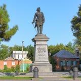 Peter den stora monumentet i Taganrog, Ryssland Arkivfoto