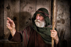Peter denying knowing Jesus. Apostle Peter denying knowing Jesus on the eve of the crucifixion stock photo
