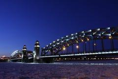 Peter der Große-Brücke von St Petersburg Lizenzfreies Stockfoto