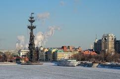 Peter der Große-Monument auf Moskau-Fluss Lizenzfreie Stockbilder