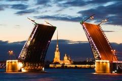 Peter e Paul Cathedral nell'allineamento del ponte diluito del palazzo alla notte bianca St Petersburg Fotografia Stock