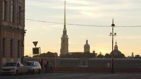 Peter e Paul Fortress sul tramonto archivi video
