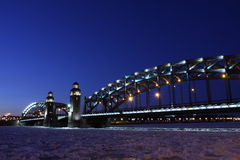 Peter el gran puente de St Petersburg Foto de archivo libre de regalías