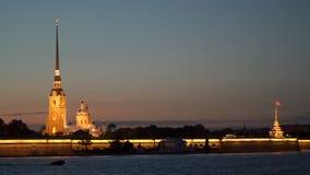 Peter en Paul Fortress bij nacht Royalty-vrije Stock Afbeelding