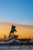 Peter the First on the horse as monument during sunset Royalty Free Stock Images