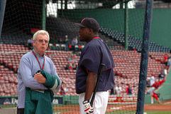 Peter Gammons and David Ortiz. Hall of Fame writer Peter Gammons speaks with Boston Red Sox David Ortiz Stock Images