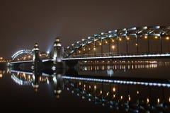 Peter a grande ponte de St Petersburg Imagem de Stock Royalty Free