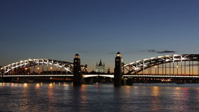 Peter the Great Bridge drawning, St. Petersburg stock video footage