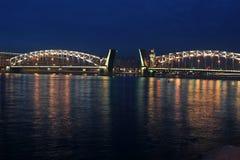 Peter the Great Bridge at night (Bolsheokhtinsky Bridge) Royalty Free Stock Photography
