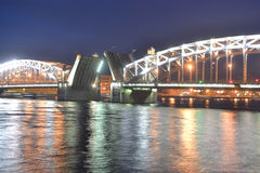 Peter the Great Bridge at night Stock Images