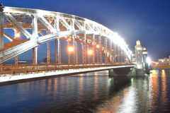 Peter the Great Bridge at night Royalty Free Stock Photos