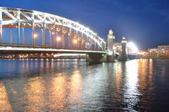Peter the Great Bridge at night Royalty Free Stock Photography
