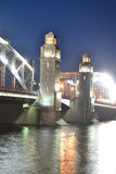 Peter the Great Bridge at night Royalty Free Stock Image