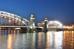 Peter the Great Bridge at night Stock Photo