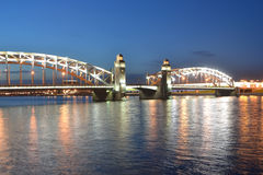 Peter the Great Bridge at night Stock Photography