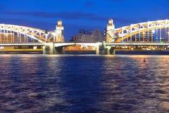 Peter the Great Bridge at night. Royalty Free Stock Photos