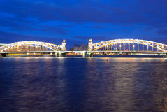 Peter the Great Bridge at night. Royalty Free Stock Images