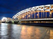 Peter the Great Bridge at night. Stock Image
