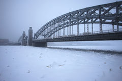 Peter the Great bridge in winter Royalty Free Stock Photos