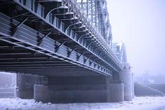 Peter the Great bridge in winter Stock Photos