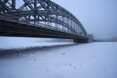 Peter the Great bridge in winter Royalty Free Stock Photography