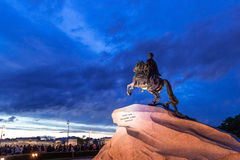 Peter the great. The monument to Peter the great on horseback on the dark background of the night sky, June 2014 Stock Images